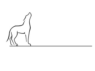 Wolf. Dog. Howling wolf. Logo. Line drawing.