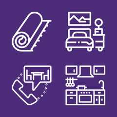 Set of 4 furniture outline icons
