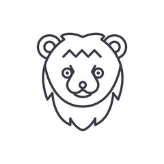 bear head vector line icon, sign, illustration on white background, editable strokes
