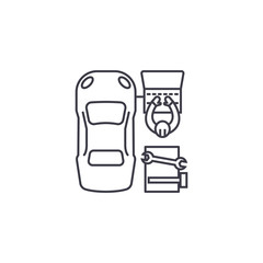 car diagnostics vector line icon, sign, illustration on white background, editable strokes
