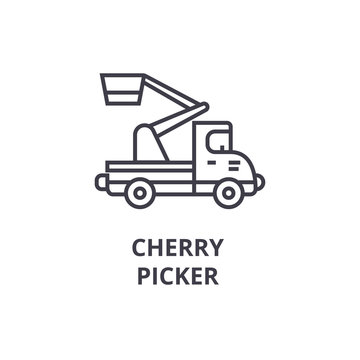 Aerial Work Platform Of Cherry Pickers On Blue Cloudy Sky Background Stock  Photo - Image of background, pickers: 116157538