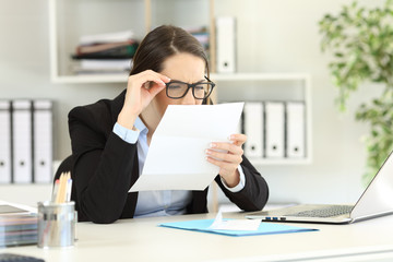Office employee having eyesight problems