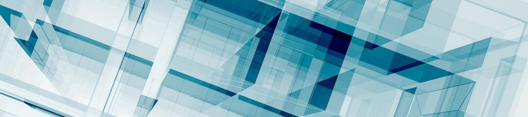 Horizontal panorama 3d rendering