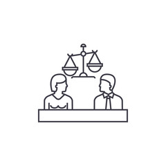 court vector line icon, sign, illustration on white background, editable strokes