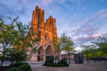 Warmly illuminated Reims cathedral in sunset light, France