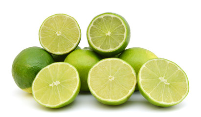 Fresh ripe lime isolated on white background