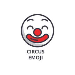 circus emoji vector line icon, sign, illustration on white background, editable strokes