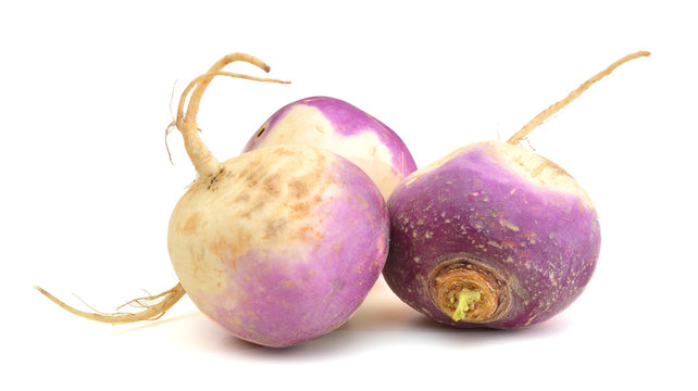 fresh turnips on a white background
