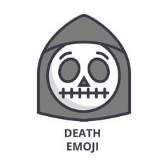 death emoji vector line icon, sign, illustration on white background, editable strokes