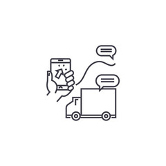 delivery services vector line icon, sign, illustration on white background, editable strokes