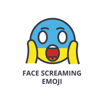 face screaming emoji vector line icon, sign, illustration on white background, editable strokes