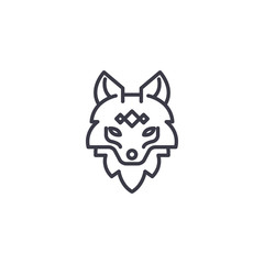 fox head vector line icon, sign, illustration on white background, editable strokes