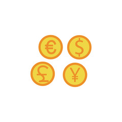coins of different currencies colored icon. Element of bankings for mobile concept and web apps. Detailed coins of different currencies colored icon can be used for web