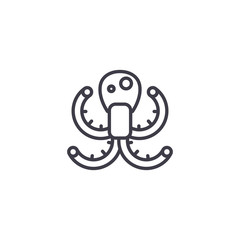 octopus vector line icon, sign, illustration on white background, editable strokes