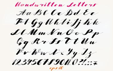 Calligraphic hand drawn font. Handwritten alphabet in elegant brush style. Modern script in vector. Hand drawn artistic letters.
