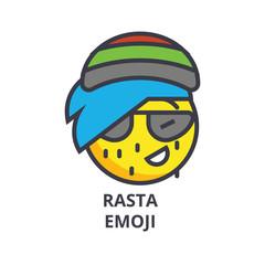rasta emoji vector line icon, sign, illustration on white background, editable strokes