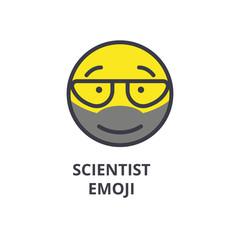 scientist emoji vector line icon, sign, illustration on white background, editable strokes