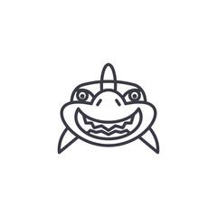 shark smile vector line icon, sign, illustration on white background, editable strokes