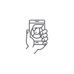 social mobile network vector line icon, sign, illustration on white background, editable strokes