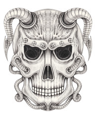 Art Biomechanical Skull Tattoo. Hand pencil drawing on paper.