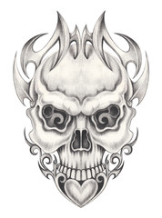 Art Skull Tattoo. Hand pencil drawing on paper.