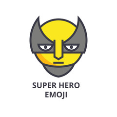 super hero emoji vector line icon, sign, illustration on white background, editable strokes