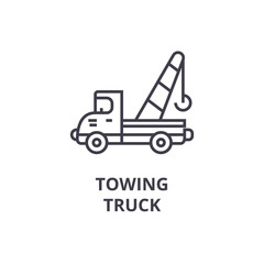 towing truck vector line icon, sign, illustration on white background, editable strokes