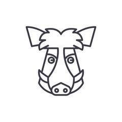 wild boar head vector line icon, sign, illustration on white background, editable strokes