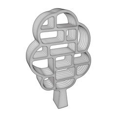 Tree of knowledge bookshelf. Wireframe low poly mesh vector illustration.