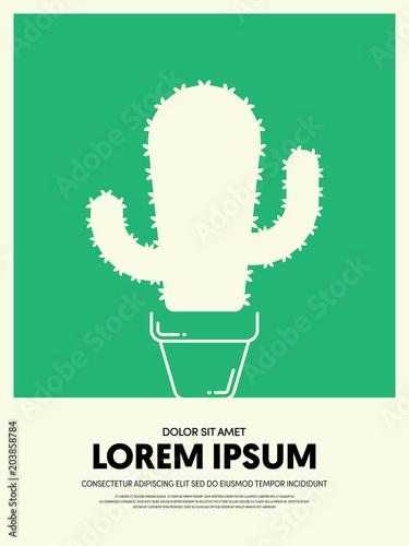Cactus In A Pot Ceramic Flat Design Poster Template Background
