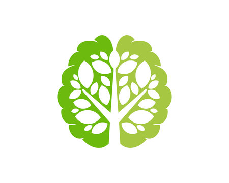 Brain Tree Icon Logo Design Element