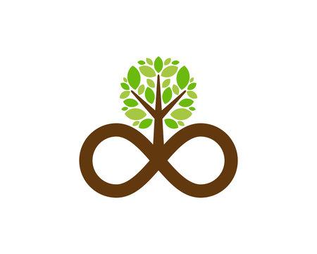 Tree Infinity Icon Logo Design Element