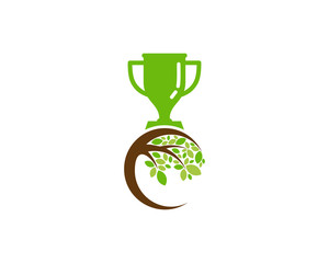 Trophy Tree Icon Logo Design Element