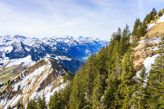 View on beautiful swiss Alps as seen from mount Stanserhorn in canton of Nidwalden in Switzerland