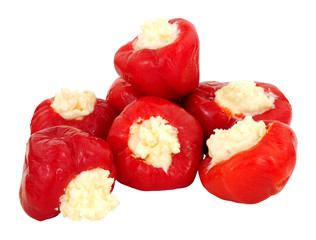 Cream cheese filled cherry bell peppers isolated on a white background