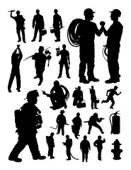 Fireman and plumber detail silhouette. Vector, illustration.Good use for symbol, logo, web icon, mascot, sign, or any design you want.