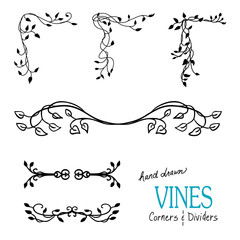 Ivy and vine design elements with flourishes curls and swirls for border corners and underline dividers and are hand drawn vector illustrations for wedding and Victorian designs.