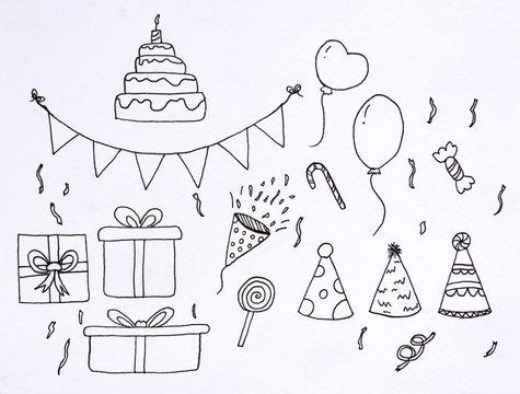 doodle set party sketch