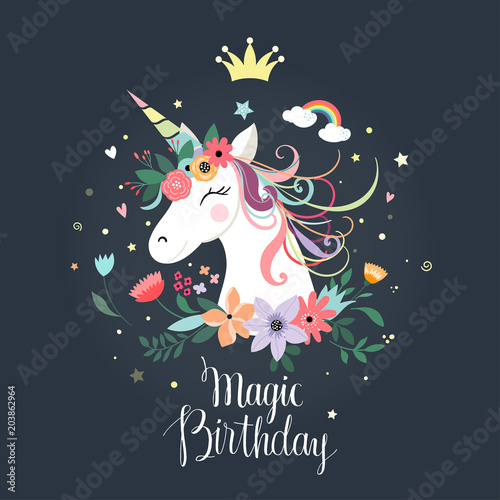 Unicorn Birthday Card Stock Image And Royalty Free Vector Files On