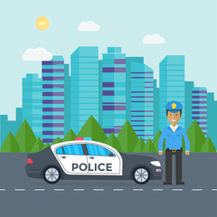 Police patrol on a road with police car, officer, house, nature landscape.