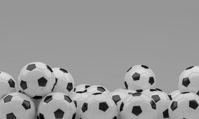 Soccer balls 3D rendering