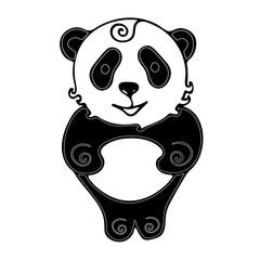 Panda doodle style vector template. Tropical animal.