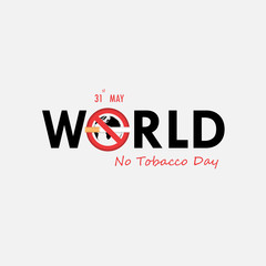 World No Tobacco Day calligraphy background design.World No Smoking Day typographical design elements.May 31st World no tobacco day.No Smoking Day Awareness Idea Campaign