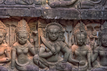 Apsara carved on the wall of the Elephant terrace, Angkor Thom. cambodia.