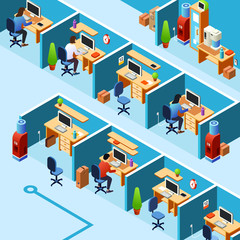 Vector isometric cubicle office plan, coworking with working clerks, employees on their workplaces. Business room, floor interior design with furniture, computers, people.
