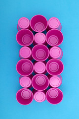 Abstract background for design created from plastic cups, for decoration, text design, template