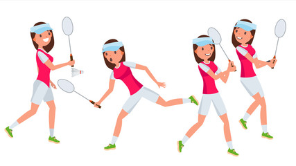Badminton Female Player Vector. Playing In Different Poses. Woman. Athlete Isolated On White Cartoon Character Illustration