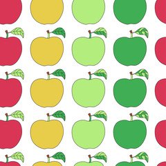 Seamless pattern with cartoon colorful apples.