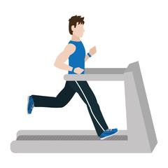 fitness man training in treadmill machine