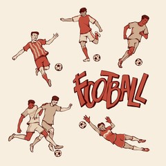 Retro football player and goalkeeper in sports uniform. Vintage soccers motion with ball in different poses and race. Vector outline illustration imitation print and inscription painted letters